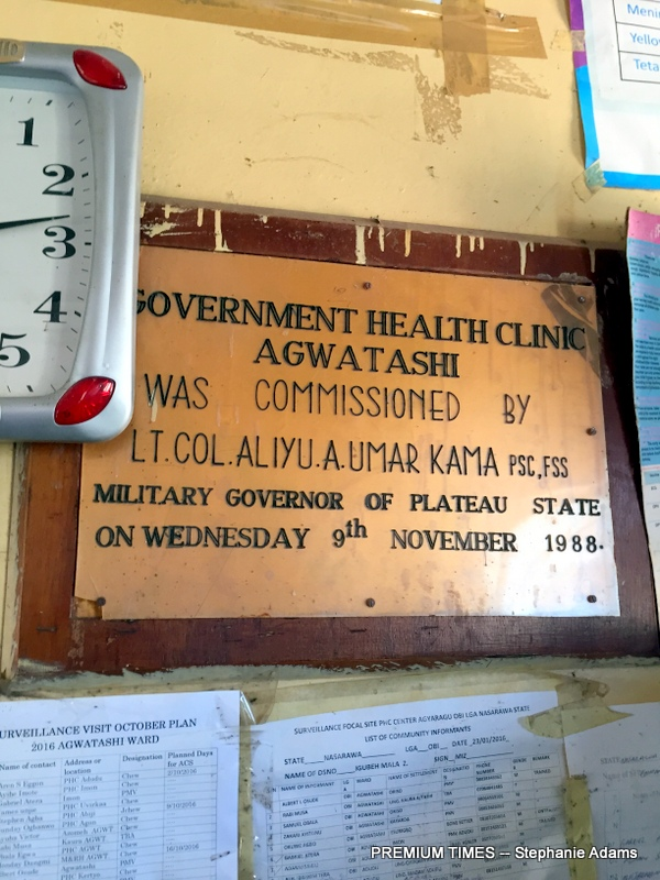 A plaque showing when the PHC in Agwatashi was commissioned (Photo taken by Stephanie Adams)